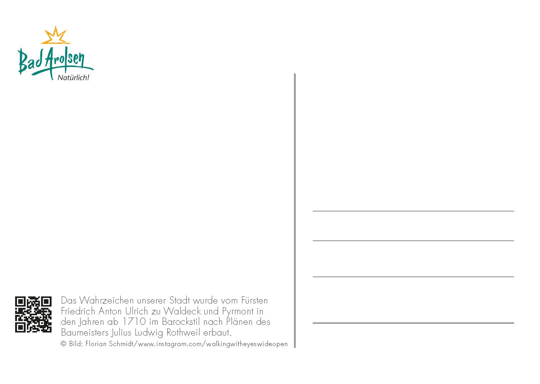 Dichter-Postkarte Rückseite Bad Arolsen