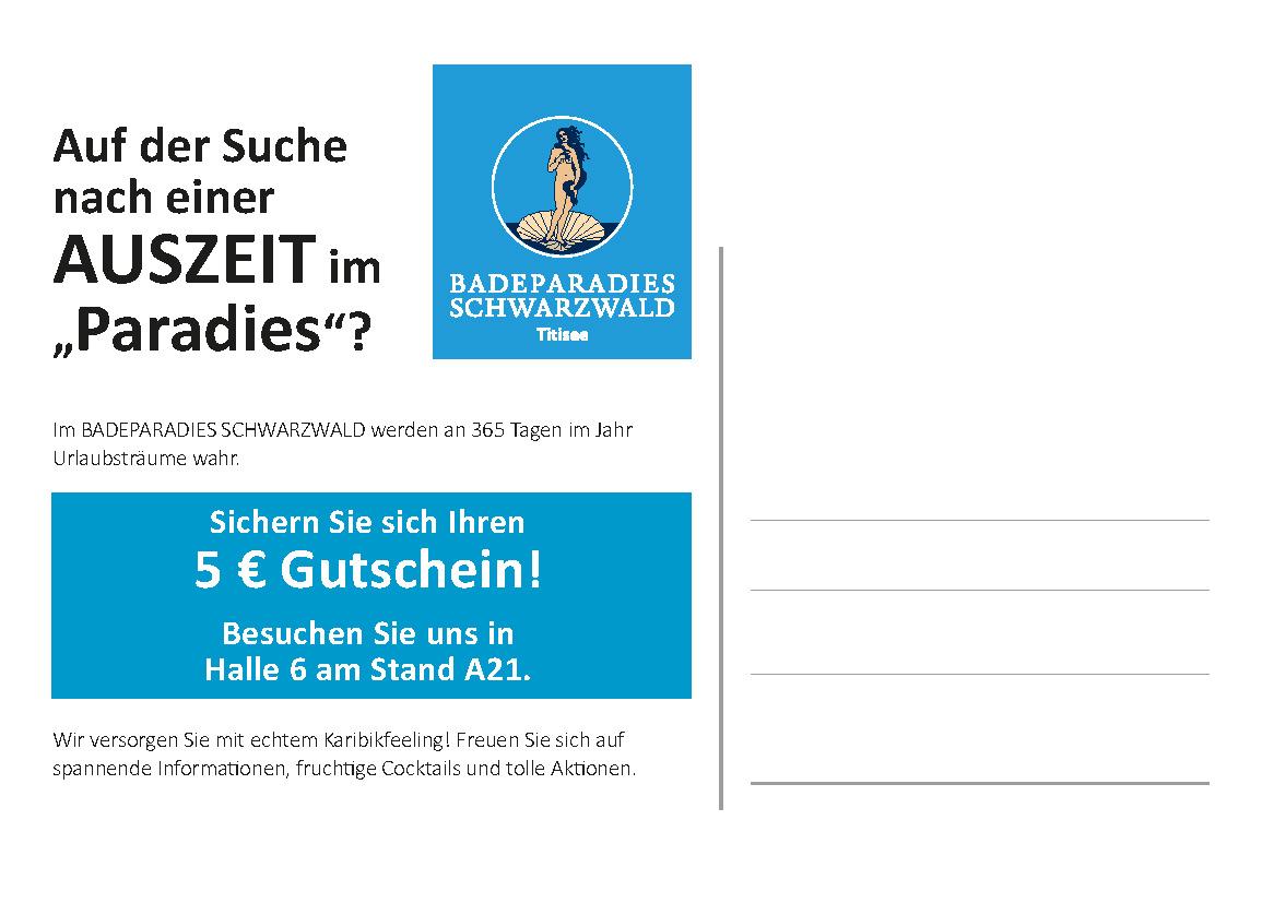 Dichter-Postkarte Rückseite Badeparadies Schwarzwald