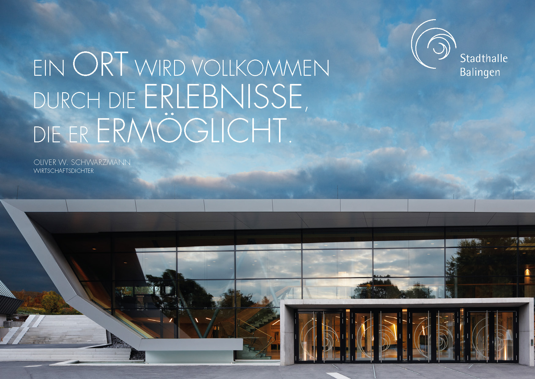 Dichter-Postkarte Stadthalle Balingen
